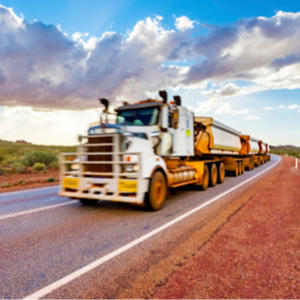 Long haul road train outback truck driver