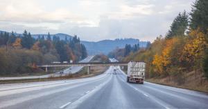 Trucker on the road during trucker Thanksgiving