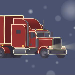 Averitt trucker delivering christmas gifts