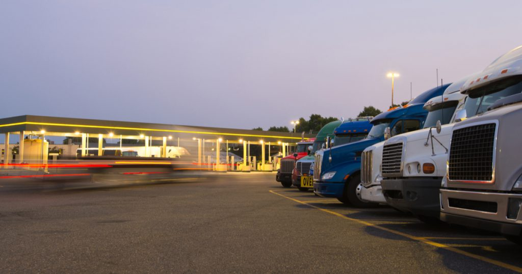 Truckers at truck stop closed because of  COVID-19