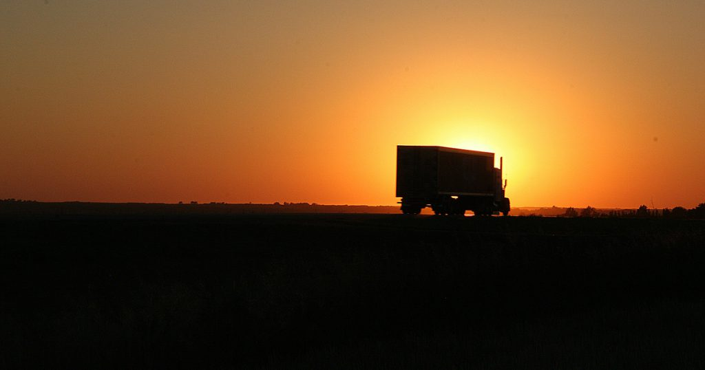 Trucker at sunset transfer 2290 with express truck tax