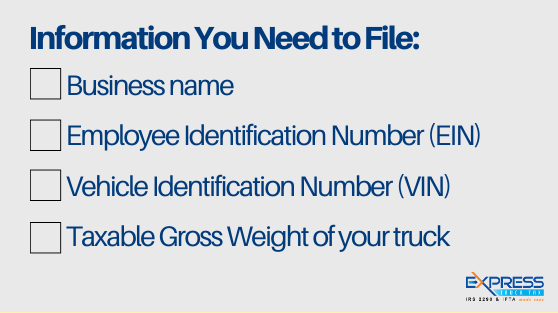 information required for filing form 2290 for 2020