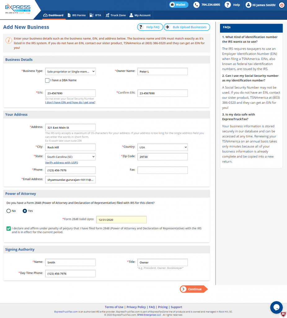 Add Form 2290 Business Details Manually