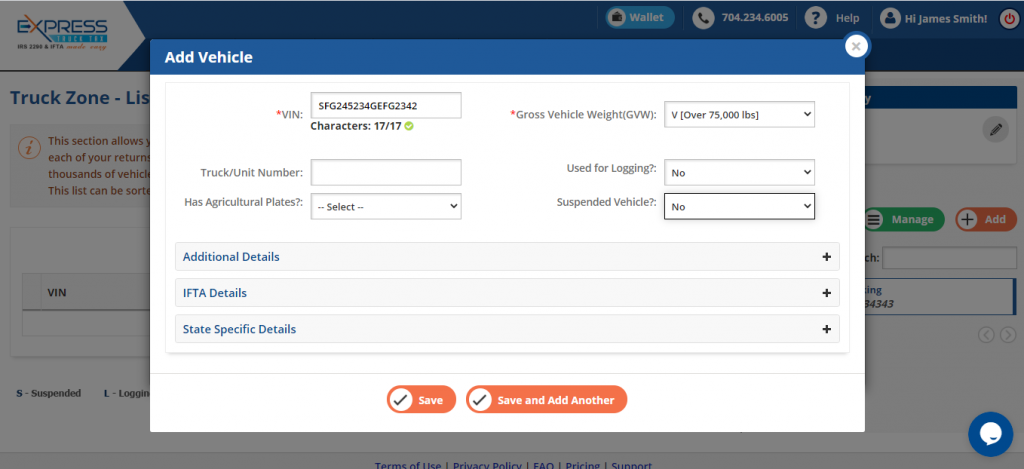 Manually Add Form 2290 Vehicle Details