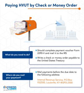 pay hvut by check or money order